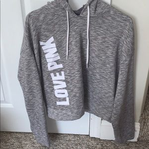 PINK grey cropped sweatshirt